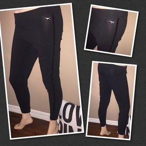 VS PINK Black Sequin leggings pants LARGE